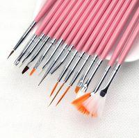 Wholesale 15 Set Nail Art Design acrylic brush UV Gel Set Painting Draw Dotting Pen Pink Hand