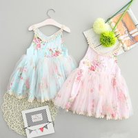 Wholesale Baby Girls Broken Flower Lace Tutu Dress New Summer Dresses Childrens Sleeveless for Kids Clothing Party Dress