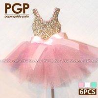 Venta al por mayor- [PGP] topper rosa de la magdalena del vestido del brillo del oro 6pcs, para las muchachas de princesa embroma el cumpleaños Wedding las decoraciones del partido de ducha de bebé