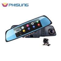 "Cheap 6.86""Touch RAM 1GB ROM 16GB 2 Split View Android GPS Navigation Mirror Car DVR dual lens camera rear parking WiFi FM Transmit car dvr"
