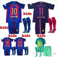 Wholesale 2016 child s football clothes kit shirt socks Thailand home away rd shirt MASCHERANO NEYMAR JR Messi children shir