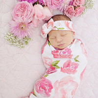 Spring / Autumn baby wholesale - Infant Baby Swaddle Sack Baby Girl Rose Flower Blanket Newborn Baby Soft Cotton Cocoon Sleep Sack With Matching Knot Headband Two Piece Set