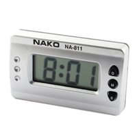 Wholesale Car Home Silver Tone Digital LCD Desk Wall Clock