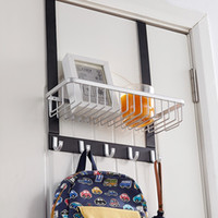 Wholesale 5 HOOKS OVER THE DOOR CLOTHES COAT DRESS HANGER STORAGE HOLDER RACK ORGANIZER WITH TIDY BASKET WASHROOM BATHROOM RUSTPROOF HIGH QUALITY