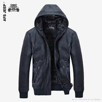 Wholesale New PU Leather Jacket Men Hooded Brand Long Warm Winter Leather Jackets Coats High Quality Business Slim Fit Parka Male