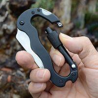 best corkscrews - Best Sale Aluminum Carabiner Outdoor Survival Gear Camping Hiking Climbing Foldable Knife Opener Corkscrew Keychain Multi Tools
