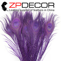 beautiful carnival - New Arrival ZPDECOR cm inch Beautiful Unique Eggplant Peacock Tail Feathers For Carnival Decoration