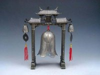 antique chinese bell - 8 quot Set Metal Arch Chinese FENG SHUI Carp Fish Dragon Chime Bells Gong Home Decor