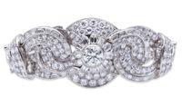 art deco platinum - French Art Deco Diamond and Platinum Bracelet
