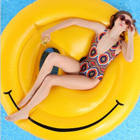 beach seating - 160cm Emoji Inflatable Pool Float Lounges Smile Face Inflatable Seat On Pool Toy Float Swimming Water Boat Kickboard Beach Mat