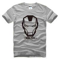 armored short - 2016 New O Neck Cotton Tshirt Tee big and tall Iron Man Armored Avenger Helmet Printed Mens Men T Shirt T shirt Fashion