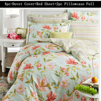 Wholesale Cotton bedding set of four fresh reactive printing textile pc Duvet Cover Bed Sheet Pillowcase Full Queen Size Bed Set