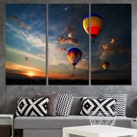 air dubai - 3 Panels Canvas Art Dubai Hot Air Ballooning Home Decor Wall Art Painting Canvas Prints Pictures for Living Room Poster XA1170C