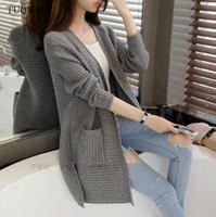 Wholesale autumn style Fall Winter Warm Outwear Fashion Sweater For Women gray Oversized Sweater Poncho Female Knit Cardigan