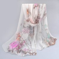 Cheap Wholesale-2016 New Womens Scarf Spring Fashion Thin Long Georgette Silk Print Shawl And Scarves Wrap Brand From India Foulard