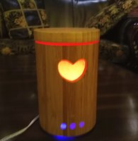 Wholesale Freeshipping ml cut out heart bamboo diffuser ultrasonic air humidifier mist maker with color Led light