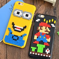 Minion mario Pas Cher-LEGO Toy briques détachables Phone Case DIY Mario Game player Simpson Minion Hard PC back cover Pour iphone 6 6plus 7 7plus
