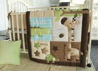 baby girl comforters - Baby Bedding Set Boy Girl crib bed sets cartoon animals giraffe crocodile tortoise stars Inc comforter bumper fitted cover sheet