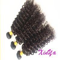 El negro natural sin procesar puede teñir 3 paquetes 100g pcs brazalete peruano virginal malayo del pelo de la Virgen 8A pelo rizado rizado humano