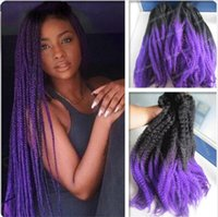 Wholesale ombre synthetic marley braid quot black purple kanekalon synthetic kinky twist braid ombre marley hair braiding