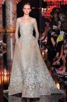 al por mayor zuhair murad vestidos personalizados-Ver a través de los vestidos de noche 2017 Zuhair Murad inspirado con ilusión mangas largas y tren de barrido famoso vestido de baile por encargo