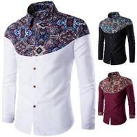 Wholesale Men Shirt Luxury Brand Male Long Sleeve Shirts Casual Pattern Printing Fight Color Slim Fit Dress Shirts Mens Hawaiian XXL