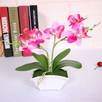 Wholesale small artificial butterfly orchid flower set with real touch leaves artificial plants overall floral for wedding