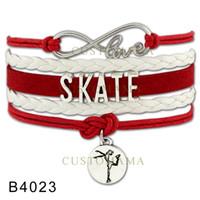 adjustable figure skates - Custom Infinity Love Skating Wrap Bracelet Figure Skating Bracelet Skate Wrap Braided Leather Adjustable Bracelet Bangles Drop Shipping