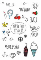 Wholesale Style Nara Colorful Cute Kids Temporary Tattoo Paper Flying Smile Freedom Peace Sun Fake Tattoo Sticker