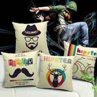 beige office chair - Square quot Elk Moustache Bicycle Emoji Pillowcase Cotton Linen Pillow Cover Office Chair Back Waist Cushion Cover Couch Seat Pillow Case