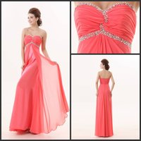 beautiful silk dresses - Sweetheart Crystal Beaded Watermelon Chiffon Ruched Pleated Floor Length A Line Cheap Beautiful Prom Dresses E0274