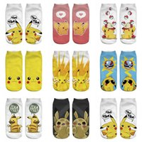 adult animal slippers - Adult emoji Poke Socks Pikachu Squirtle Ash Boat Monster Ankle Poke go Pikachu Ship Ball Slippers Hosiery women men summer autum d socks