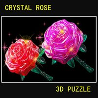 Wholesale Rose Shape D Creative Adult DIY rose D Stereoscopic Crystal Jigsaw Assembly Model FSOB