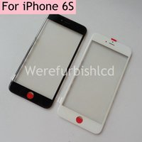 Wholesale out glass front bezel with cold glue For iPhone S glass with frame oca ear mesh Assembly parts