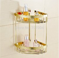 artistic cosmetics - Top grade Wall Mounted Double Bathroom Shelf Artistic Carved Golden Brass Cosmetic Storage Holder