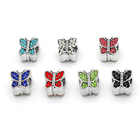 Wholesale DIY Bead Fits Original Charms Bracelet Beads Butterfly Crystal Silver Plated Charm Big Hole Jewelry Make Up