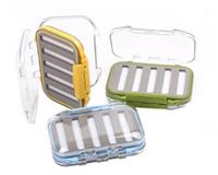 Wholesale 4 x x1 Plastic Waterproof fly fishing Double Side Clear Slit Foam fly Fishing Box FLY BOX Tackle Case Box