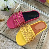 Wholesale A new spring luxury brand designer Cuba holiday series metal chain woven thick soled slippers Ms size Free Delivery