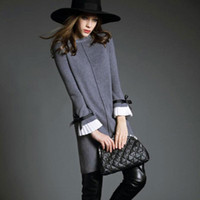 Wholesale New Women s Sweater Dress Spring Plus size Knitted Long sleeve Dress Slim Package hip Medium long Sweater
