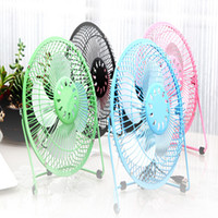 Wholesale USB Electric Portable Fan Inch Metal Head Fan Rotate Metel Mute Radiator Mini Cooler Desktop Power PC Laptop Desk Fan