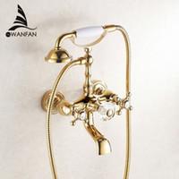 antique gold taps - Luxury Antique Style Gold Color Bath Tub Faucet Ceramic Handle Handheld Shower Head Faucet Mixer Tap HS G018