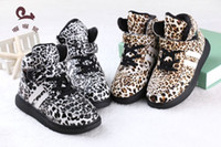 Wholesale New children shoes girl and boy fashion Leopard grain lovely snow boots Sports shoes Add fur keep warm