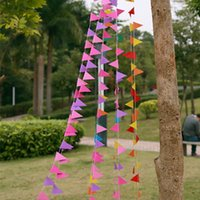 banner photo - 4m Bunting Colourful Triangles Flags Paper Garland Wedding Banner Photo Booth Props Birthday Party Supplies Decoration S201712