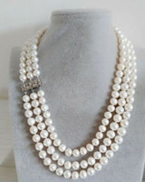 Wholesale b j c Details about triple strands natural mm south sea white pearl necklace inch