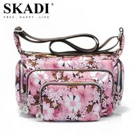 Wholesale SKADI Hobos Waterproof Shoulder Bag Nylon Women Messenger Bags Pockets Women Shopping Handbag Floral Zippers Travel Bag S005