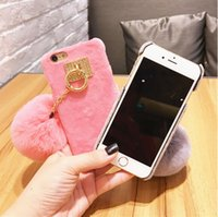 ball plastic ring - Luxury Warm Rabbit Fur Ball Tassel Case Metal Ring Plush Phone Case For iPhone s Plus Plus Back Cover