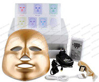 Wholesale 2017 Gold White LED Mask Colors LED Photon Facial Mask Wrinkle Acne Removal Face Skin Rejuvenation Moisturizing Face Massage Beauty Device