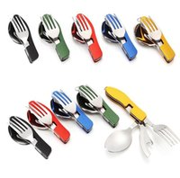 Wholesale Outdoor Multifunction Tableware Camping Portable Folding Detachable Picnic Traveling Knife Fork Spoon Stainless Steel Tableware H001