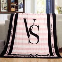 Wholesale Pink VS Secret Blanket Manta Fleece Blanket Throws on Sofa Bed Plane Travel Plaids Hot Limited Battaniye cmx150cm Christmas Gifts TOP1454