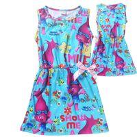 b vest - 2 Color Girl Trolls Poppy Branch Princess Dress Children cartoon bowknot sleeveless vest dresses clothes B